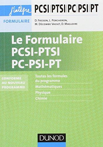 Le formulaire PCSI-PTSI-PC-PSI-PT - 5e d. - nouveaux programmes 2013-2014