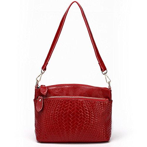 ZPFME Handtaschen Der Frauen Schulterbeutel Mädchen Partei Retro Damen Art Und Weise Diagonales Paket Rindleder Webart Red