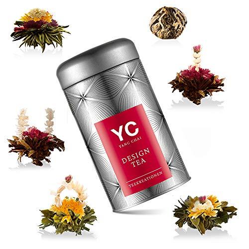 Yang Chai Teeblumen geschenkset Tee Geschenk Symbiosis im 6er Pack - einein edles Geschenk für Frauen Teeblüten das ideale Tee Geschenkset für Teeliebhaber in stabiler Metalldose mit Teerosen Halter