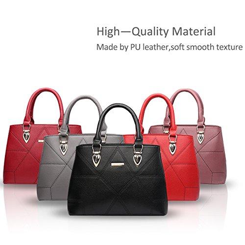 NICOLE&DORIS Le donne / signore adattano la borsa di Crossbody della borsa della spalla sacchetto sveglio Resistente all'acqua Totes morbido PU Rosso Nero