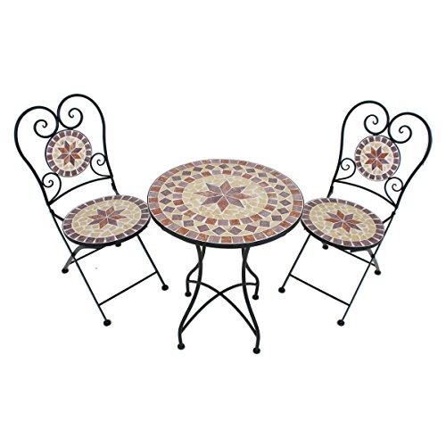 VARILANDO verspieltes Balkon-Set 'Armand' 3-teilig Garten-Set Sitz-Gruppe Mosaik und Metall