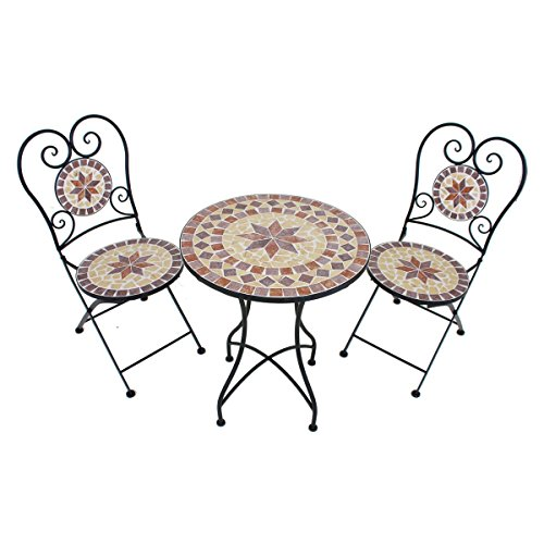 VARILANDO® verspieltes Balkon-Set Armand 3-teilig Garten-Set Sitz-Gruppe Mosaik und Metall | Garten > Balkon > Balkon-Sets | Ocker | Metall | Unbekannt