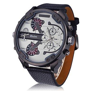 XKC-watches Herrenuhren, Oulm Männer Dualzeit Militäruhr Aviator-Design Große Zifferblatt Lederband (Farbe : Weiß, Großauswahl : Einheitsgröße)