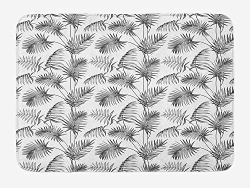 CHKWYN Natural Bath Mat, Palm Leaves Island Tropical Floral Botanic Tree Natural Sketchy Print Image, Plush Bathroom Decor Mat with Non Slip Backing, 23.6 W X 15.7 W Inches, Dimgrey and White