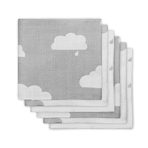 Jollein 535-849-65057 Mullwindel, Clouds grau (6 pack)