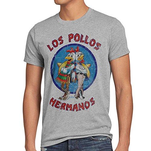 Authentic Blau Jersey (style3 Los Pollos T-Shirt Herren, Größe:L, Farbe:Grau meliert)