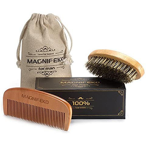 Beard Comb and Brush Grooming Set for Men - Home & Travel Grooming Kit Natural Handmade Boar Bristle Brush & Wooden Comb That Adds Shine & Health to Moustache, Goatee, By Magnifeko
