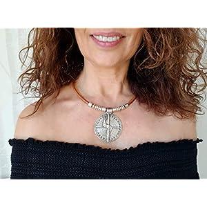 Halskette mit Silbermedaillon und Leder für Frauen, Boho-Chic-Schmuck