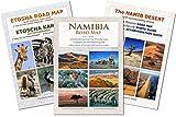 El set de mapas completo NAMIBIA: Mapa de carreteras NAMIBIA ROAD MAP + MAPA ETOSHA (con galería de fotos de animales salvajes) + MAPA DESERTICO NAMIB (con fotos), ideal para la planificación y viaje