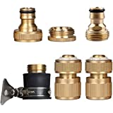 Set of 6 Brass Garden Lawn Water Hose Pipe Fitting Set Connector Tap Adaptor