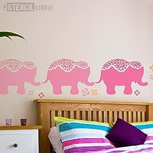 The Stencil Studio Pochoir réutilisable Motif éléphant-Pochoir mural-Nellie Taille XL