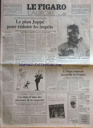 FIGARO L'AURORE (LE) [No 16110] du 04/06/1996 - LE REFORME FISCALE - LE PLAN JUPPE POUR REDUIRE LES IMPOTS - UN PEU D'ESPOIR PAR MARIANO - 3EME AEROPORT - BEAUVILLIERS RETENU - LES ETATS D'AME DES ELECTEURS DE LA MAJORITE - ROLAND-GARROS - PIOLINE EN QUART DE FINALE - LE MAIRE DE PARIS MIS EN CAUSE DANS L'AFFAIRE DES HLM DE LA VILLE - ARIANE 5 - 1ER TIR AUJOURD'HUI A KOUROU - CREATION D'UNE IDENTITE EUROPEENNE DE SECURITE ET DE DEFENSE - L'OTAN RENOVEE ACCUEILLE LA FRANCE - C