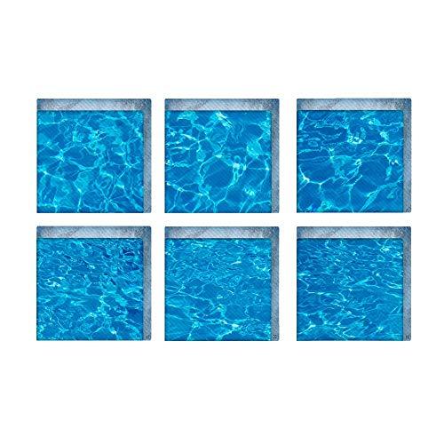 Wencaimd Badzubehör 3D Badewanne Aufkleber Decals, Set 6 rutschfeste wasserdichte Badewanne Decals (Meerwasser) für Badezimmer Whirlpool Paneele