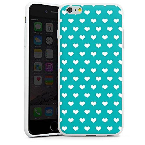 Apple iPhone X Silikon Hülle Case Schutzhülle Herzchen Türkis Muster Silikon Case weiß