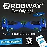 Der mehrfache Testsieger - Original Hoverboard Robway W1 Matt Edition - Premium SAMSUNG Akku - UL2272 - CE - Self Balance - Bluetooth - App Steuerung - 2 x 350 Watt Motoren - LED - Elektro Scooter Self Balance Board (Blau Matt)