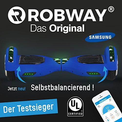 Der mehrfache Testsieger - Original Hoverboard Robway W1 Matt Edition - Premium SAMSUNG Akku - UL2272 - CE - Self Balance - Bluetooth - App Steuerung - 2 x 350 Watt Motoren - LED - Elektro Scooter Self Balance Board (Schwarz Matt)
