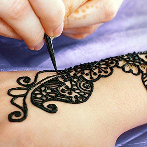 3x Henna Originale Natürliche Kegel Cones + 1x Schablone für Temporäre Mehndi Tattoos | Temporäre Tattoos | Temporäre Tätowierung | Körperfarben | Tattoo sticker | Henna Designs [Schwarz]