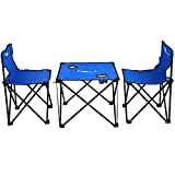 KOKR Gartenmöbel Campinggarnitur Tisch- und Stuhlset, Klapptisch (46X46x38cm) + 2 X Campingstühle
