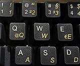 Deutsch transparente Tastaturaufkleber mit Gelben Buchstaben - Geeignet für jede Tastatur