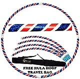 Pro Hula Hoop Reifen Erwachsene (Weiß/Rot/Blau) Zerlegbarer 4 piece Travel Hula Hoop für Training u. Tanz HoopDance - Größe 100cm, Gewicht 650g