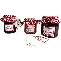 Conservas de etiquetas de Juego con colgantes y glasdeckchen, presupuesto etiquetas), color rojo