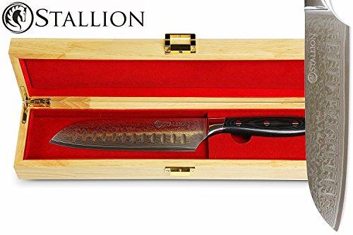 Stallion Damastmesser - Santokumesser aus Damaststahl in edler Geschenkbox - das ideale Geschenk für Männer und alle Freunde schöner Messer