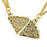 MJARTORIA Antik Gold Farbe Pizza Slice Halskette freundschaftsketten Stück 2