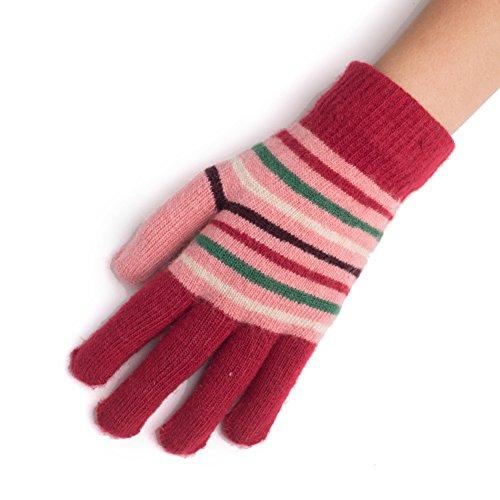 Guanti termici di donna/ guanti di maglia di lana/Guanti a strisce-H Unica