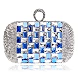 Brille Bling Damen Abendtaschen Fingerring Diamonds Day Clutches Geldbörse Abendtasche Strass Crystal Purse-Blue_16 × 5 × 10cm
