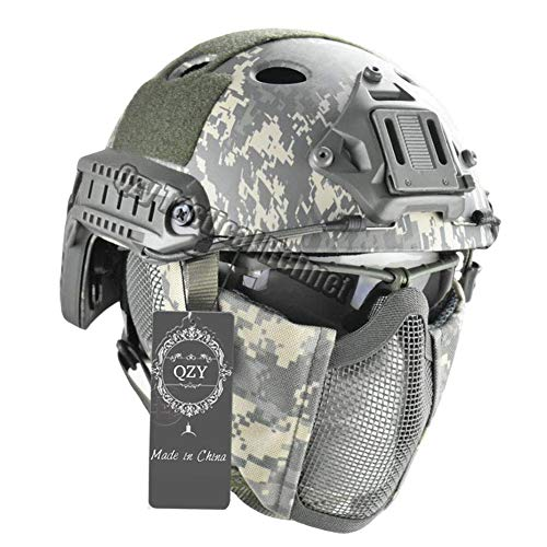 QZY Taktischer Fast Helm mit Protect Ear Steel Mask & Goggle Set für Airsoft Paintball Protective Anti-Riot Helm,ACU