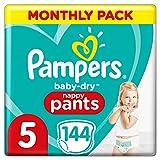 Pampers baby-dry luierbroek maat 5, 144 luierbroeken, 12-17 kg, easy-on met luchtkanalen voor maximaal 12 uur ademende droogheid, maandverpakking