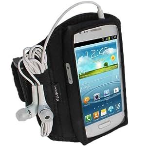 igadgitz Schwarz Wasserabweisend Neopren Sport Etui Case Hülle Schutzhülle Armband Oberarmtasche für Samsung Galaxy S3 III Mini I8190 Android Smartphone (NICHT FÜR GALAXY S3 i9300 GEEIGNET)