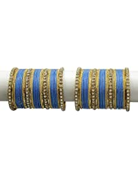 MUCH MORE Elegant Turquoise Colour Bangles Set With Crystal Stone