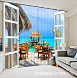 qcl3d Cortina Cortinas Hotel Curtains_Digital Print HD Dormitorio con Vista a la Playa Sala de Estar Aplicable, Ancho 2.20x Altura 1.80