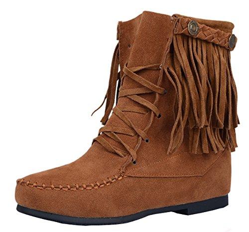 YE Damen Flache Wildleder Stiefeletten mit Schnürung und Fransen Riemchen Bequeme Ankle Boots Herbstschuhe Hellbraun