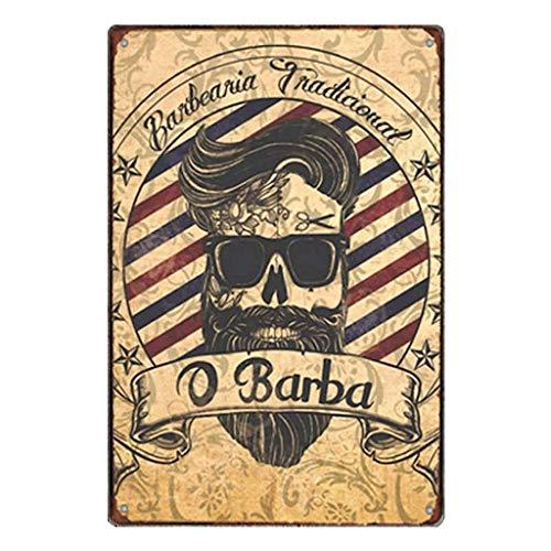 KUSTOM FACTORY Plaque Acier Barber Shop Skull Greaser