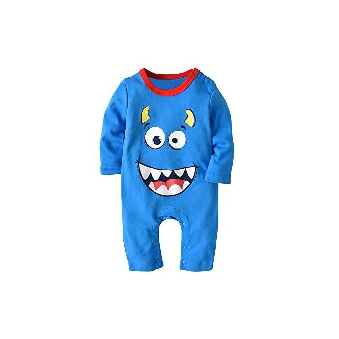 Kinderbekleidung,Honestyi 2 STÜCKE Halloween Baby Jungen Mädchen Cartoon Print Strampler Overall + Hut Set Outfit (80,90,95,Hellblau)