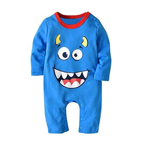 Kinderbekleidung,Honestyi 2 STÜCKE Halloween Baby Jungen Mädchen Cartoon Print Strampler Overall + Hut Set Outfit (95,Hellblau)