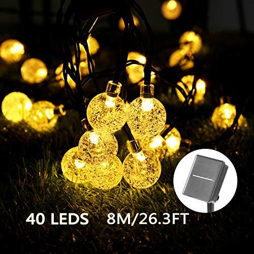 Solar Luces Decorativas 40 LED 8M/26.3FT Impermeable Solar Bola de Cristal Luz...