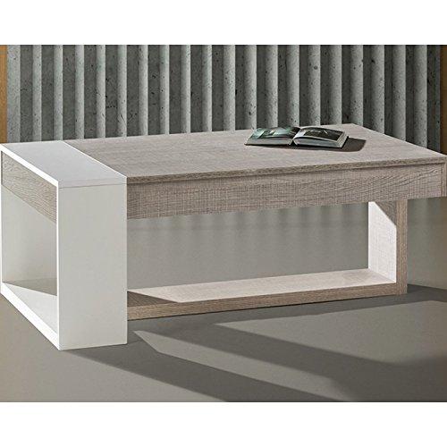 Tousmesmeubles Table Basse relevable Chêne Clair/Blanc - Esteban - L 110 x l 60 x H 44 - Neuf