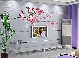 ufengke® Cinese Fiori di Pesco In Fiore Stile Adesivi Murali, Camera da Letto Soggiorno Adesivi da Parete Removibili/Stickers Murali/Decorazione Murale