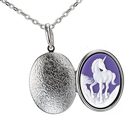 Unicorn Locket Animal Best Friend Necklace Silver Pendant Photo Fashion Jewelry 18 24 Chain Pouch Gift by