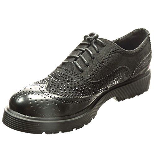 Angkorly Damen Schuhe Brogue Schuh Derby-Schuh - Bi-Material - Strass - Perforiert Blockabsatz 3 cm cm Schwarz
