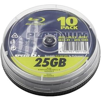 Platinum 25 GB BD-R Blu-ray-Rohlinge (6x Speed) in 10er Spindel