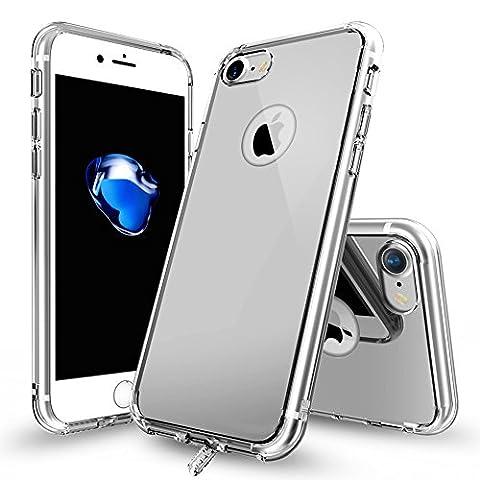 iPhone 7 Handytasche TOTOOSE, Ultra dün Spiegel Handytasche TPU Rahmen Stoßstange mit Galvanisieren Hart PC Zurück Abdeckung Stoßfest Schutz für iPhone 7 Silber-Grau