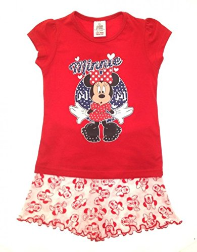 inder, Mädchen Offizielles Disney Minnie Mouse Micky Mouse Clubhouse Design, Set, Größe: 1–4 Jahre Gr. 110, Red Top, White Shorts with Minnie Faces (Passenden Family-shirts Für Disney)
