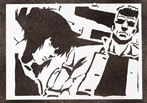 Ghost In The Shell Poster Plakat Major Motoko Kusanagi und Batou Handmade Graffiti Street Art - Artwork -