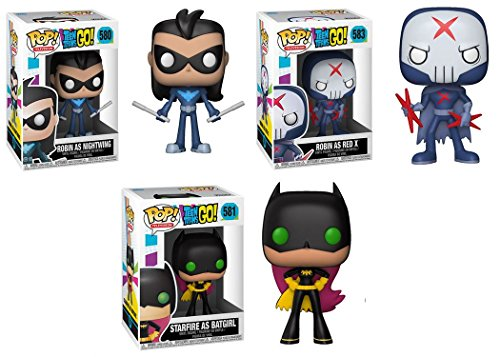 Funko POP Teen Titans Go Robin as Nightwing Robin as Red X Starfire as Batgirl DC Vinyl Figure Set NEW