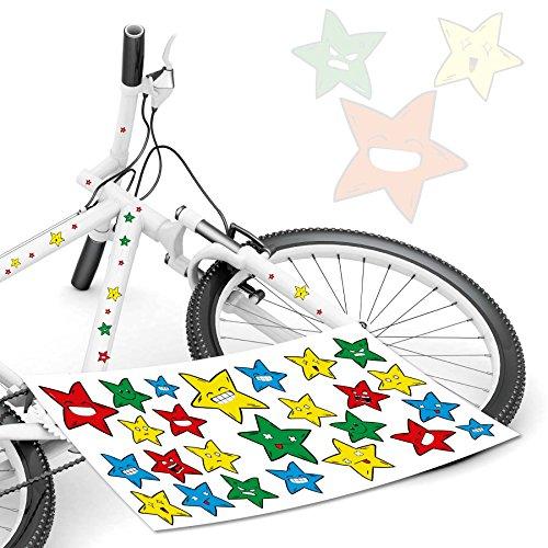 Tops Kundenauftrag (Sterne Sternaufkleber Star Smiley Fahrradaufkleber Kinderrad Sticker *TOP*)