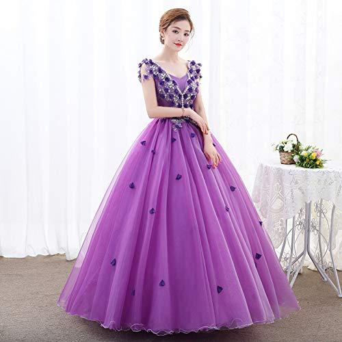 QAQBDBCKL Luxury Lila Violett Baroque Cosplay Ballkleid Medieval Kleid Renaissance-Kleid Königin Viktorianischen Belle Ballkleid